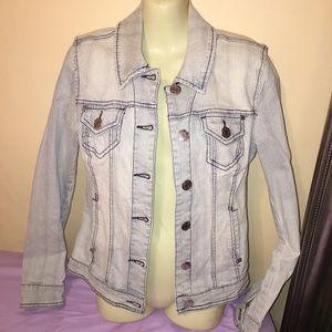 Guess acid wash pin stripe jean jacket